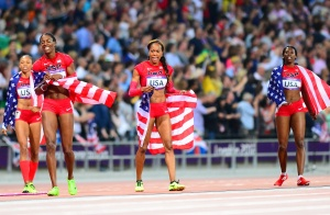 Gold Medal winning USA 4x400-meter relay (l to r , Allyson Felix, Deedee Trotter, Sanya Richards-Ross, and Francena McCorory.