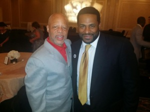Jerome Bettis and Leland Stein III in Canton, Ohio for Bettis HoF enshrinement. - Hassan Kareem photo